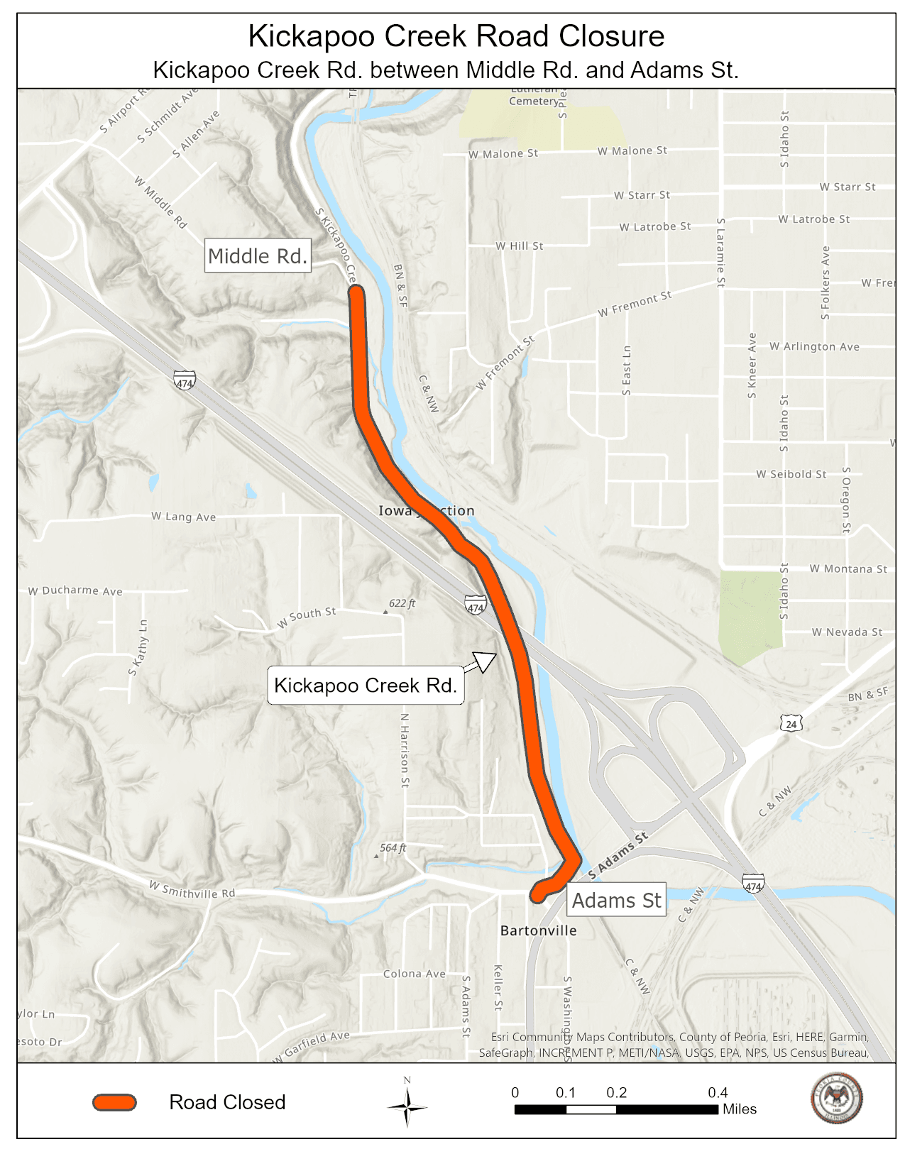Map of Kickapoo Creek Road Closure that begins March 8, 2021