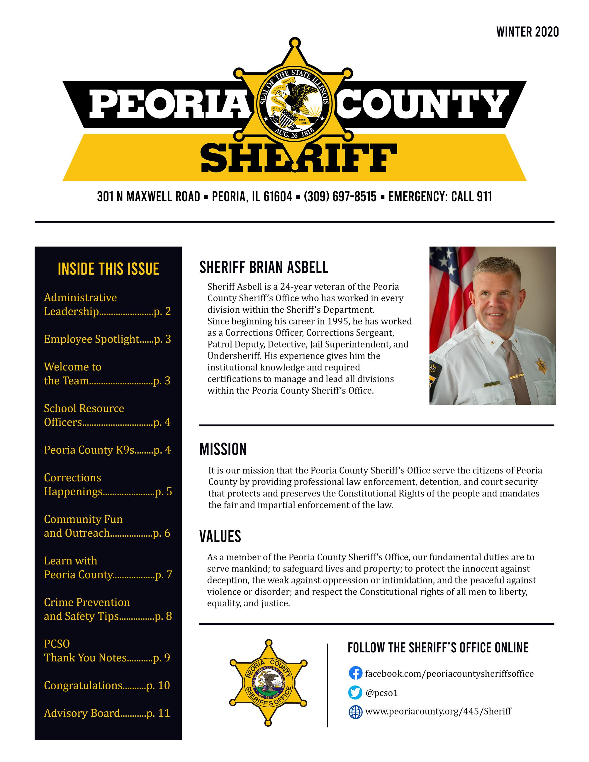PCSO Winter 2020 Newsletter - Page 1 Cover Opens in new window