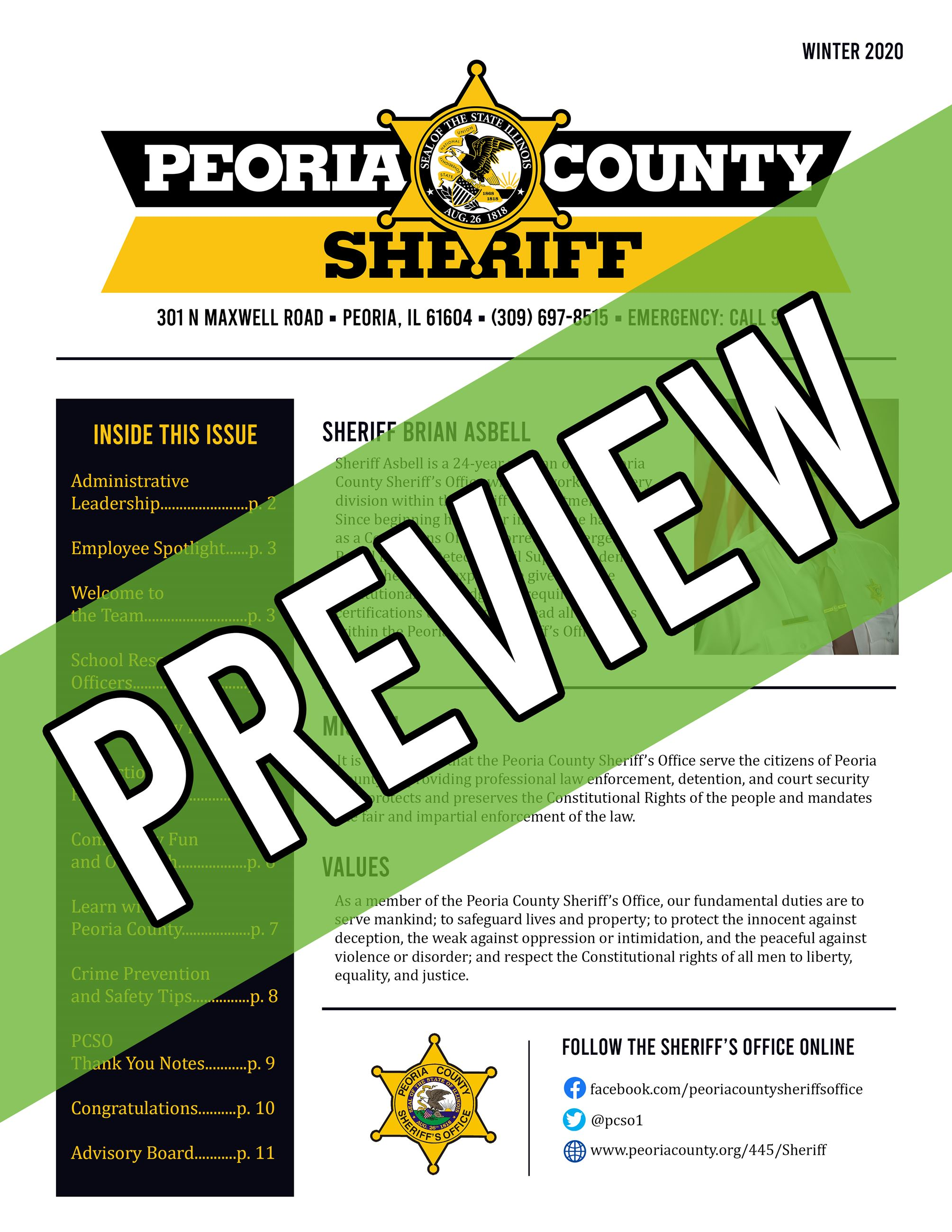 Winter 2020 PCSO newsletter - page 1 with preview written across front